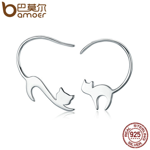 BAMOER Animal Collection 925 Sterling Silver Cute Napping Little Cat Drop Earrings for Women Sterling Silver Jewelry Gift SCE073