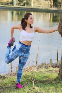 Tie dye yoga pants with fold over waist | Cucur Ethical Clothing