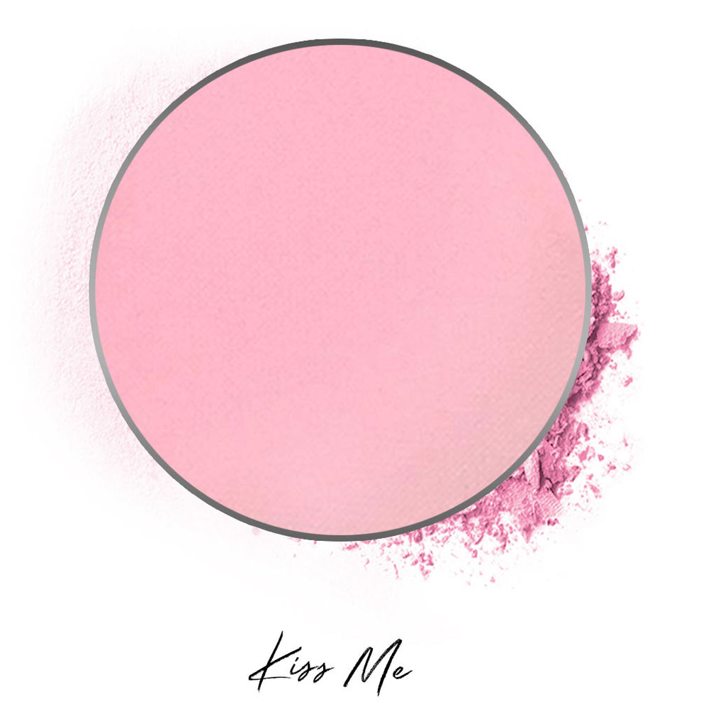 "a light pink individual eyeshadow compressed powder refill in shade ""kiss me"""