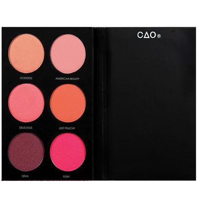 Black Matte rectangular cardboard palette with 6 circular openings for blush refill powder product in shades Goddess, American Beauty, Delicious, Just Peachy, Diva, and Foxy.
