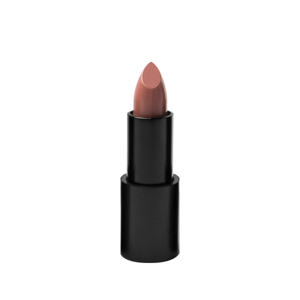 "Black matte lipstick open tube, top of light nude lipstick color in shade ""lani"" on top on white background."