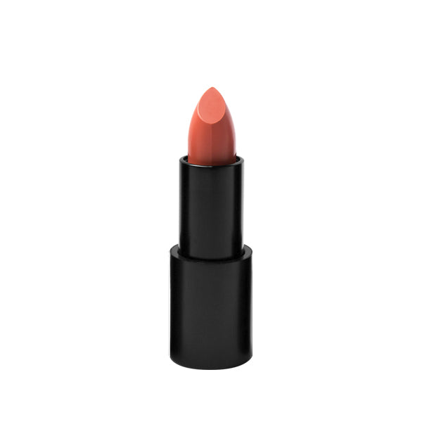 Black matte lipstick open tube, top of nude peachy lipstick color on top on white background.