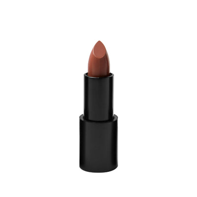 "Black matte lipstick open tube, top of light brown lipstick in shade ""sienna"" color on top on white background."