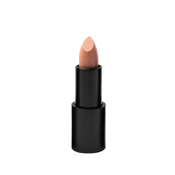"Black matte lipstick open tube, top of light nude lipstick in shade ""sultry"" color on top on white background."