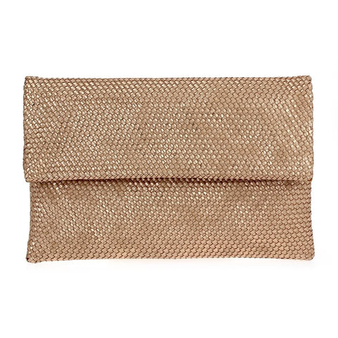 Rose Gold Weaved Fold Over Clutch with Chain