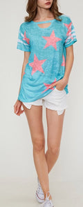 """Tasia"" Turquoise Star Tee with Choker neck"