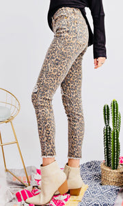 """Ellie"" Leopard Distressed Jeans"