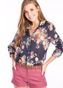 Navy Floral Button Down Top