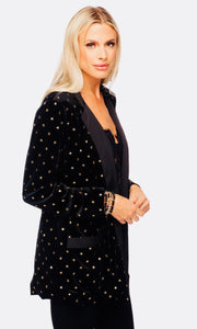 """Hugh"" Twilight Black Velvet with Gold Star Blazer"