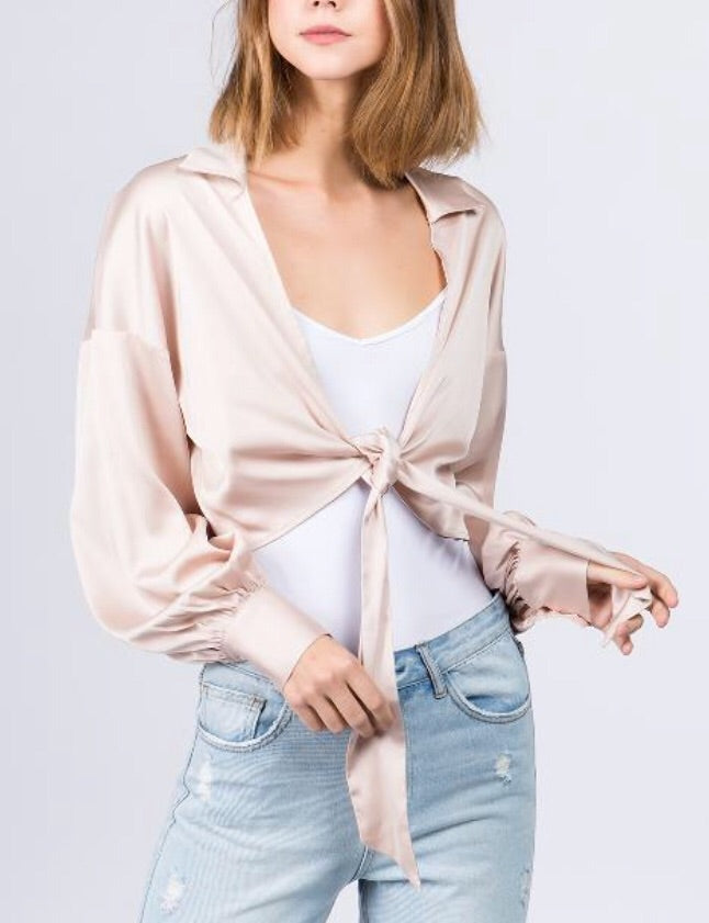 Nude Satin Tie Top with a Collar