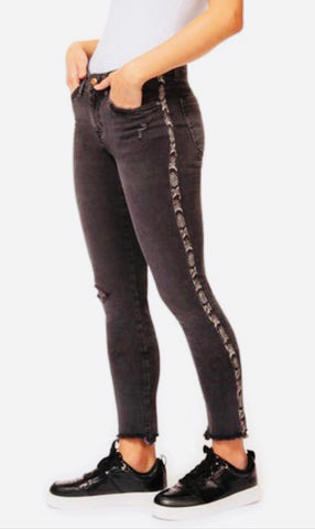 Black Distressed Jeans with Snake Leather stripe down leg