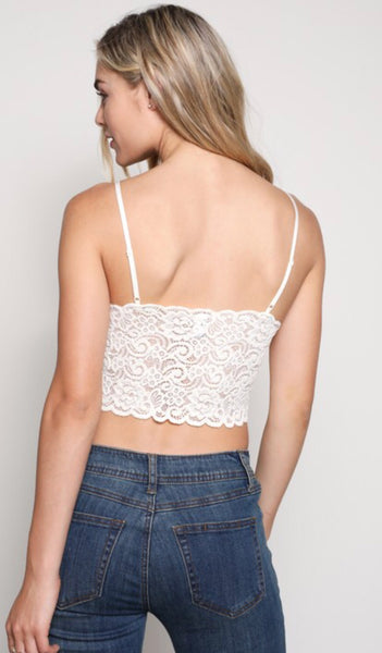 Ivory Lace Padded Bralette with Adjustable Straps