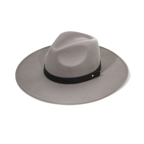 Grey With Black Leather Wide Brim Panama Hat