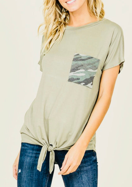 Olive Tie Tee with Camo Pocket
