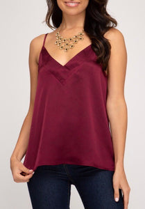 Wine Satin V-Cami