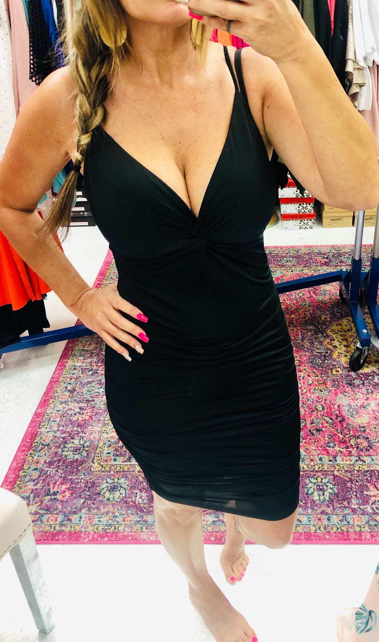 Black Ruched Spaghetti Strap Dress