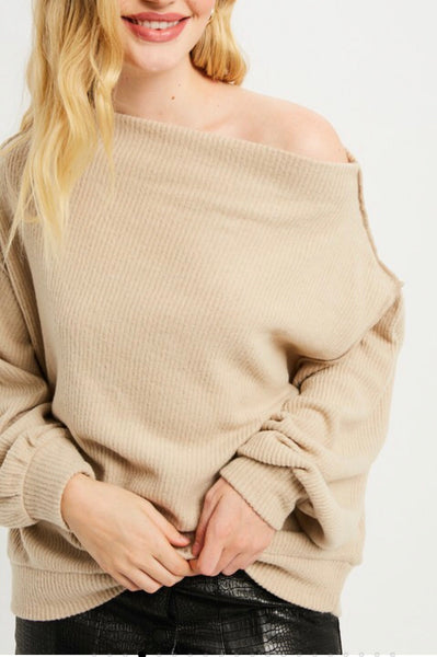 """Blythe"" Nude Lightweight Sweater with Dolman Sleeves"