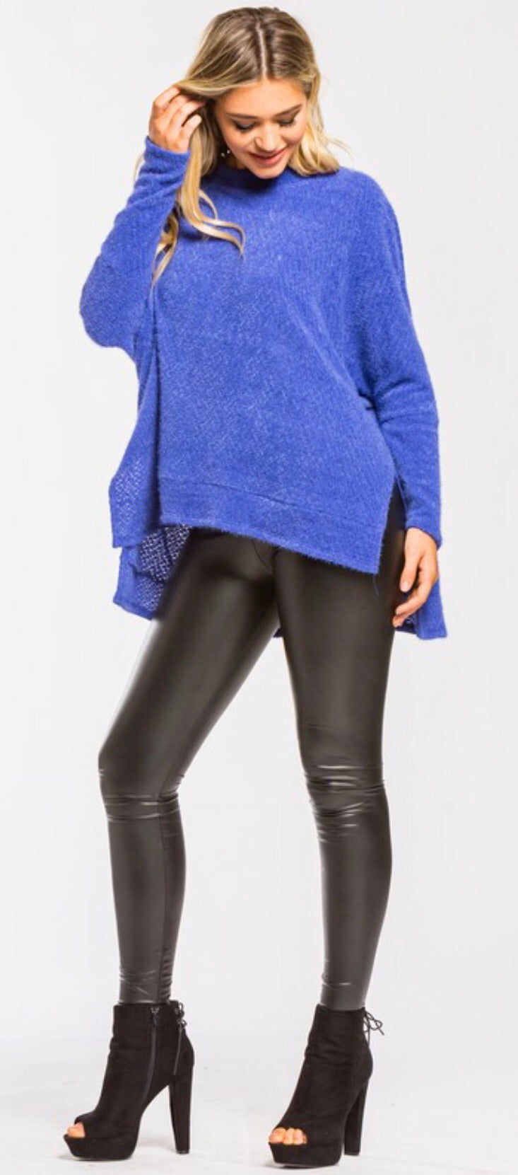 Royal Blue Brushed Knit Oversized Sweater
