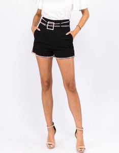 Black Crystal Trimmed Shorts