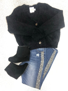 Black Fuzzy Short Cardigan