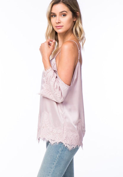 """Sophie"" Blush Cold Shoulder Satin Top with Lace"