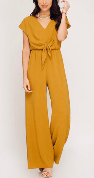 Mustard Short Sleeve Tie Jumpsuit