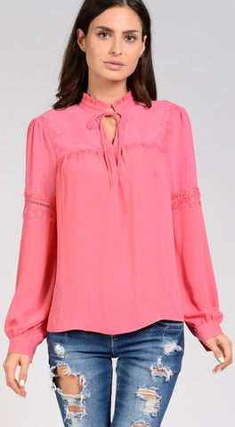 """Katie"" Pink Mock Neck Top with Lace"
