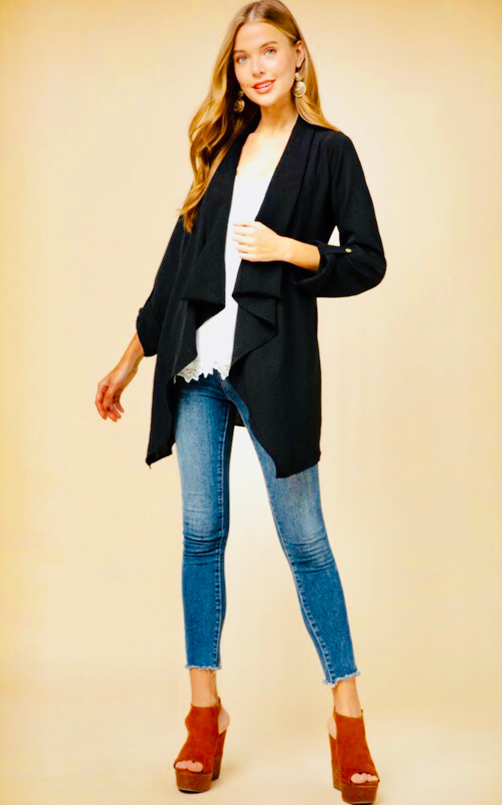 """Dalia"" Black Draped Blazer"