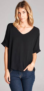 Black Solid Vneck Top