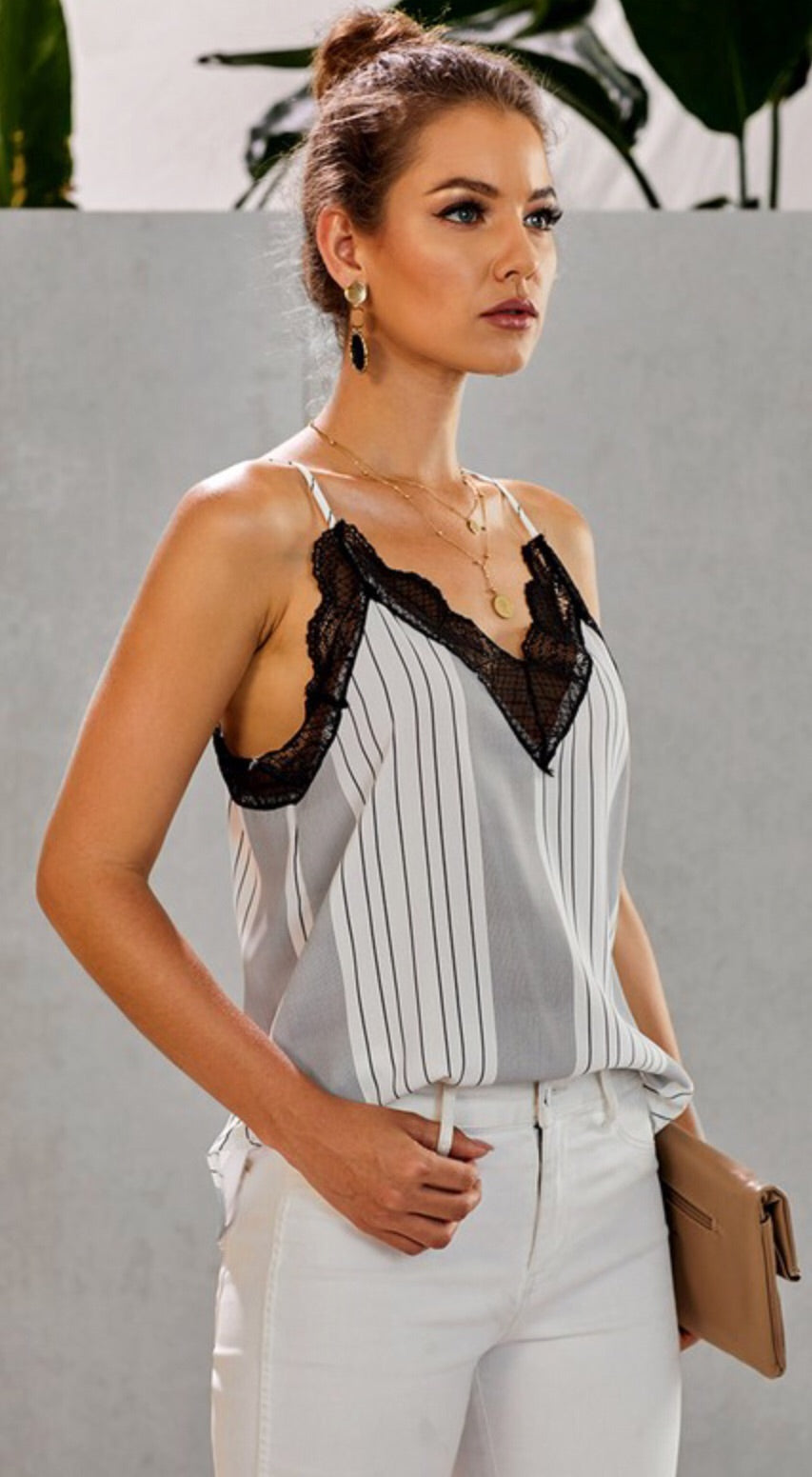 Striped Lace Cami