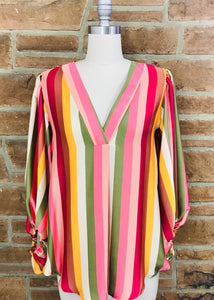 Striped Satin Bubble Sleeve VNeck Top