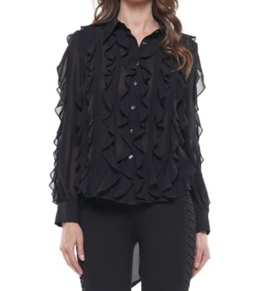 """Kaleigh"" Black Sheer Ruffle Top"