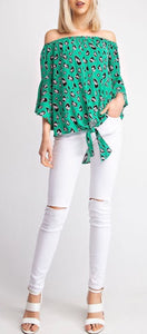 Kelly Green Leopard Off The Shoulder Tie Top with Bell Sleeves