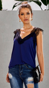 Blue and Black Lace Cami