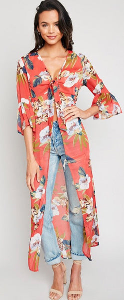 Red Coral Floral Tie Front Duster