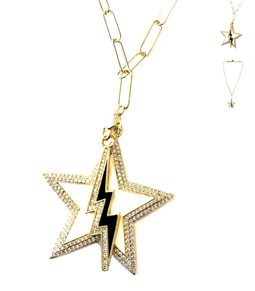 White Star Black Bolt Necklace