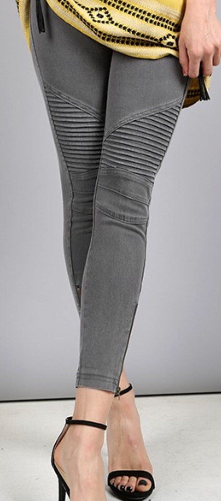 Dark Grey Moto Ankle Jegging with Zipper