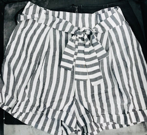 """Liv"" Cuffed Black and White Striped Shorts with Belt"
