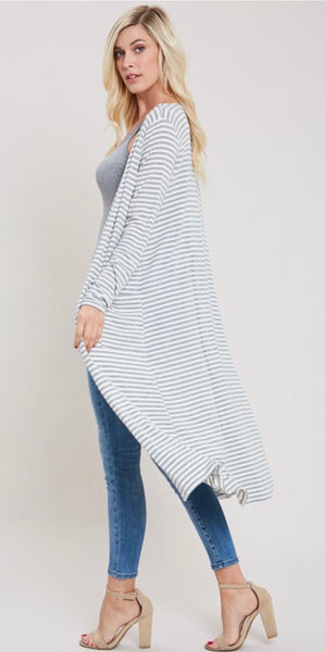 Grey and Off White Striped Kimono with Pockets