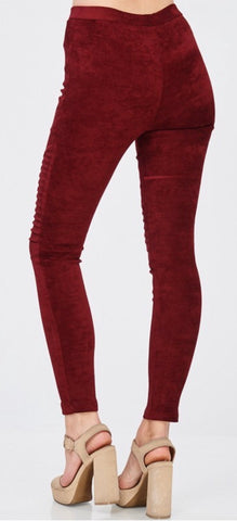 Wine Suede Moto Leggings