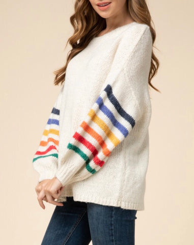 Cream Rainbow Sweater