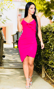 """Hello Darling"" Fuchsia Ruffle Wrap Dress"