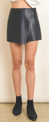 """Faith"" Black Vegan Leather Skort"