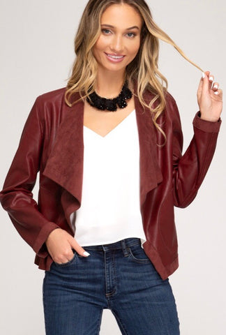 Wine Faux Leather Drape Jacket