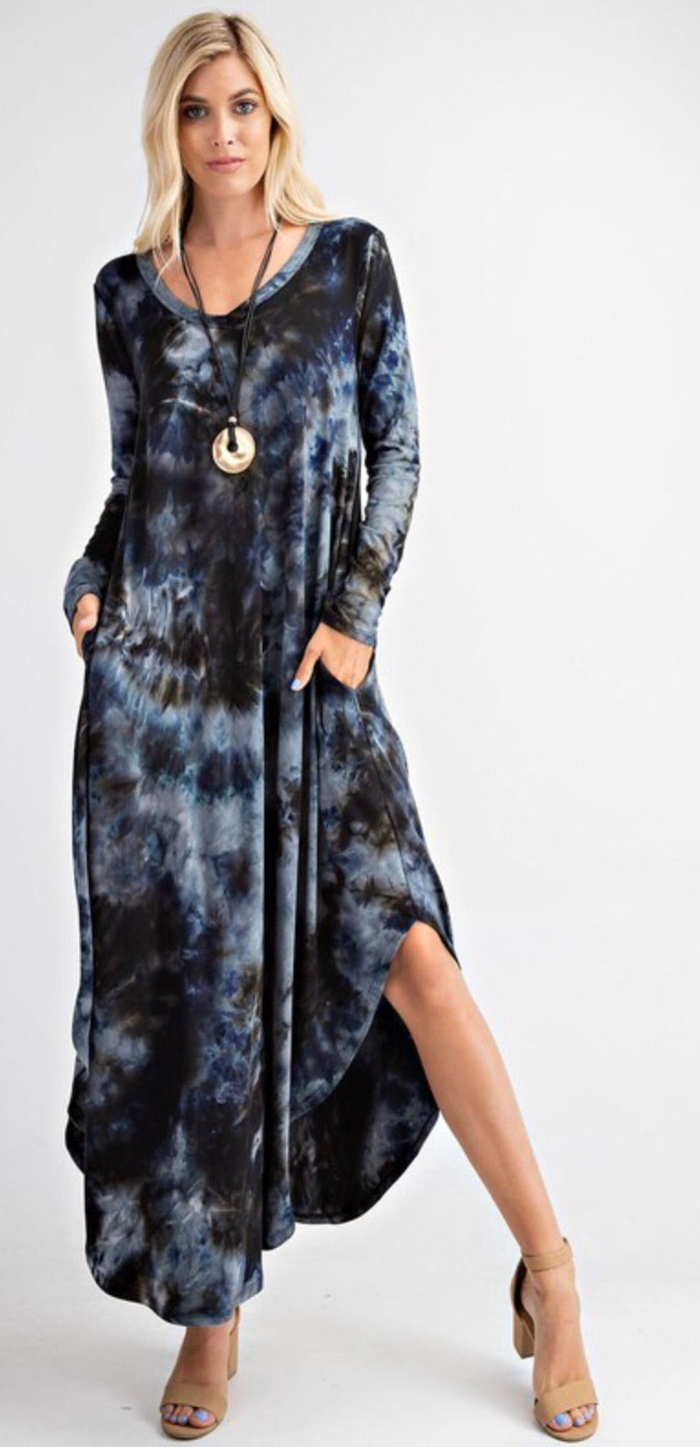 Navy Tie Dye T-shirt Dress