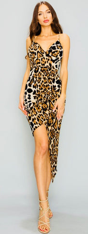 Leopard Asymmetrical Midi Dress