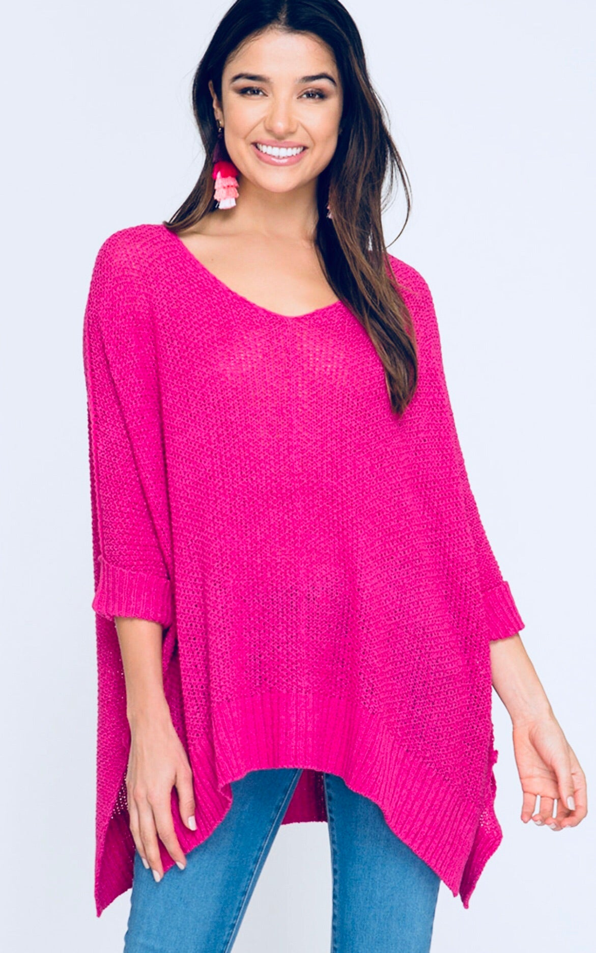 Fuchsia 3/4 Sleeve Slouchy Sweater