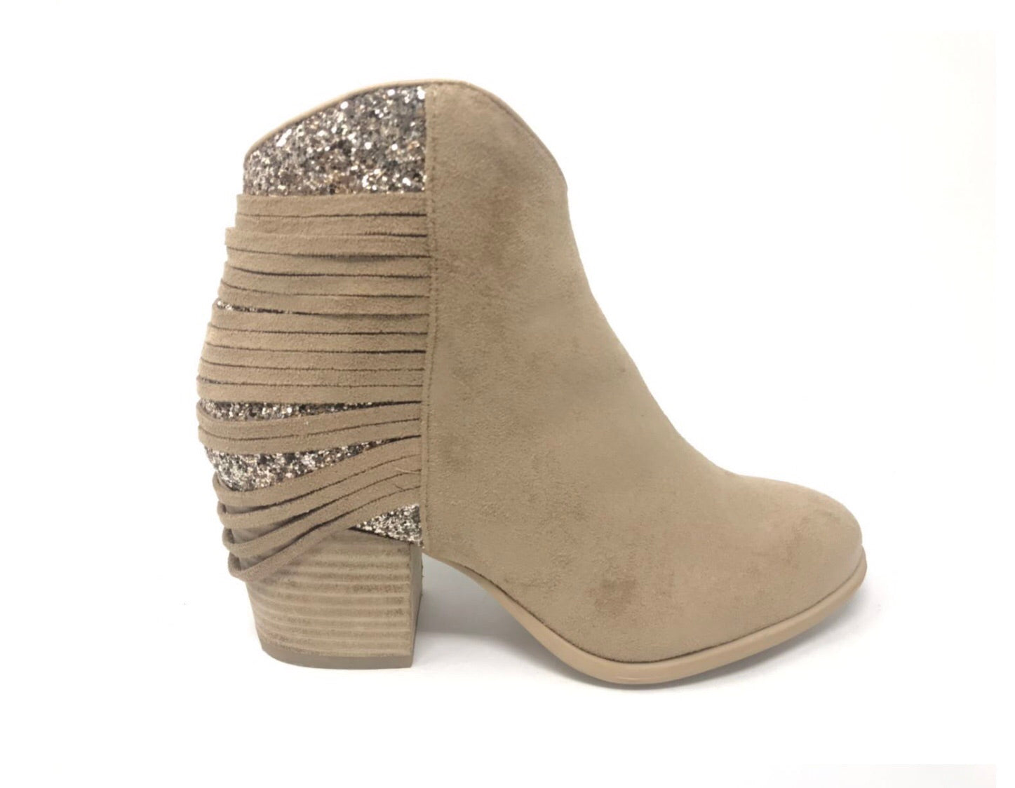 Camel Block Heel Bootie with Gold Glam