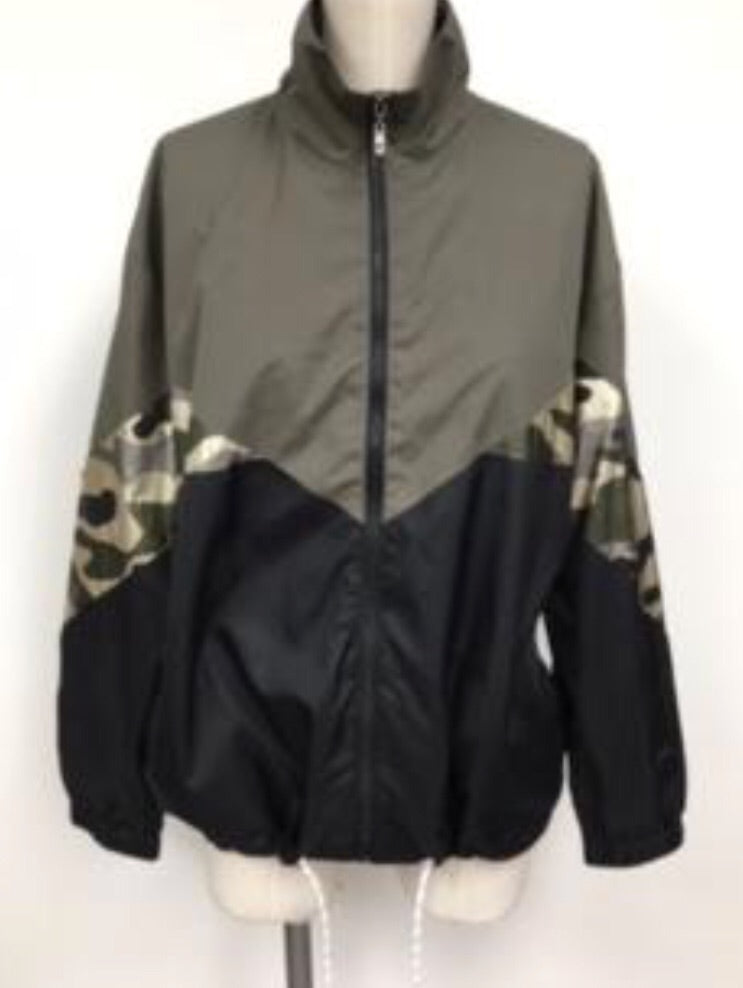 Camo Colorblock Windbreaker