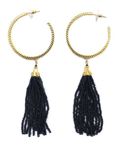 """Black"" Hoop Beaded Tassel Earrings"
